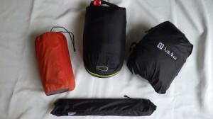 わが寝室。テントはニーモ/タニLS。寝袋はマウンテンイクイップメントのゼロ300。マットはエクスペド/シンマット7。