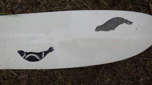 ニンバスのパドル(上記写真の一番上)には、友人がアザラシの絵を描いてくれた。