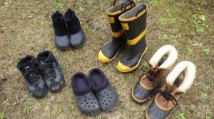 冬用の靴を集めてみたら、こんな感じ。やっぱりソレルがいちばんハードなブーツ。だからこそ、出番が少ないんだよな。東京で暮らしていると。