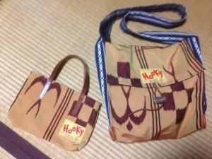 お袋にもらった帯を使って作ったバッグ数種。第一号は、もちろんのお袋へ押しつけた。